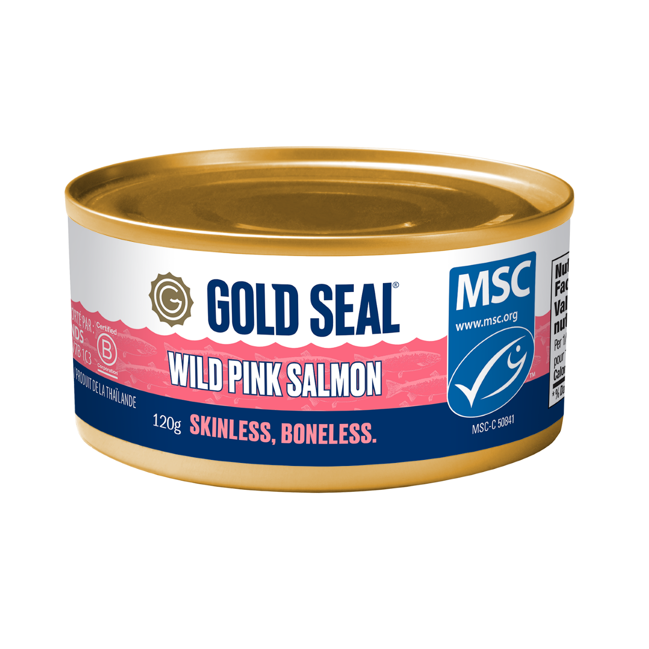 One can of Gold Seal Skinless and Boneless Wild Pink Salmon