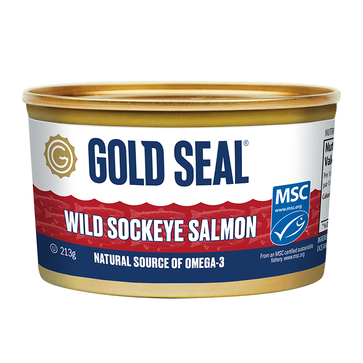 One can of Gold Seal Traditional Wild Sockeye Salmon