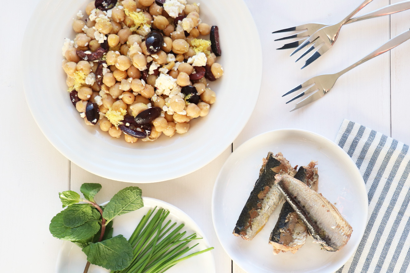 Sardine and Chickpea Salad with Feta