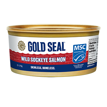 One can of Gold Seal Skinless and Boneless Wild Sockeye Salmon
