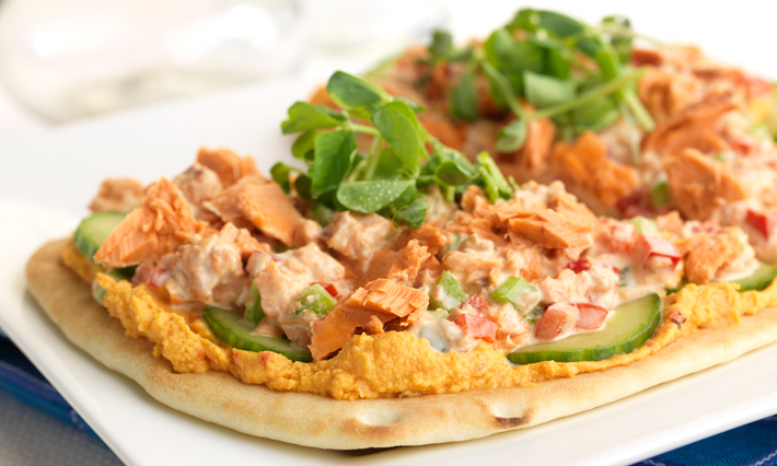 Salmon and Roasted Pepper Hummus on Naan Bread