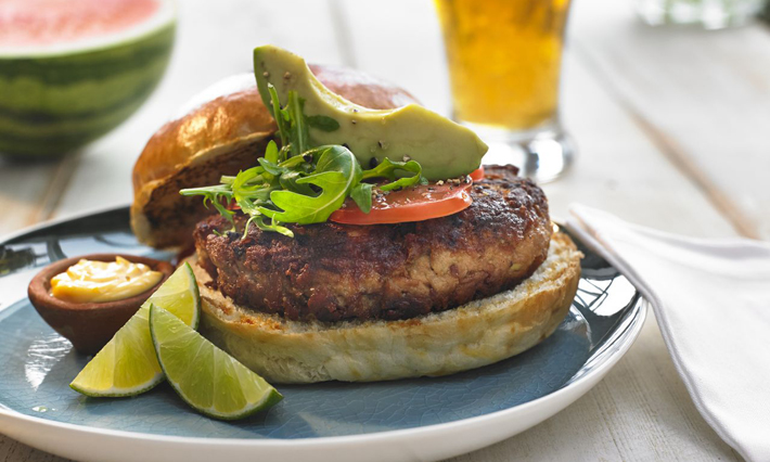 Salmon Burgers with Roasted Garlic Pineapple Aioli