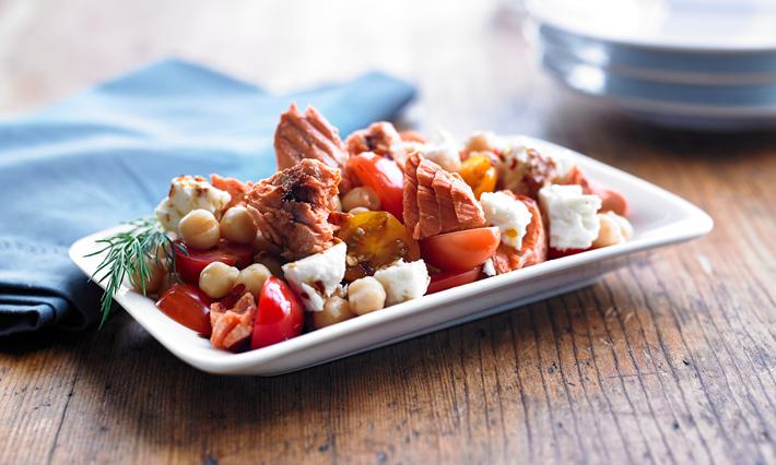 Salmon, Tomato, Chickpea and Feta Salad