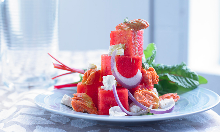 Salmon, Watermelon and Feta Salad
