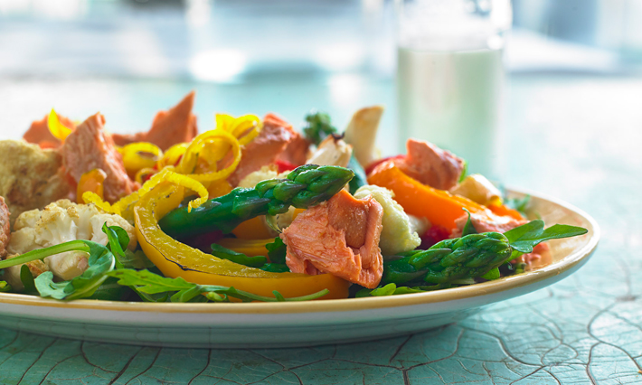 Salmon, Wilted Arugula and Roasted Spring Vegetables