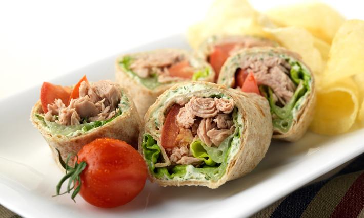 Tuna, Plum Tomato and Basil Pesto Tortilla Rolls
