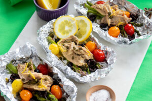 3 foils of BBQ Mackerel loaded with veggies