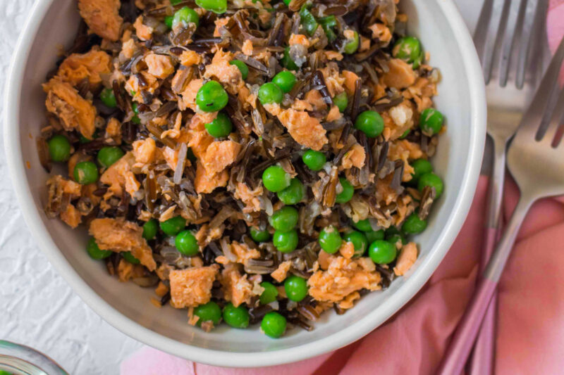 A bowl of Wild Rice Pea Salmon Salad