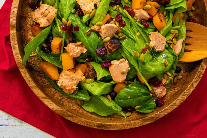 Wooden bowl of Harvest Salmon Salad