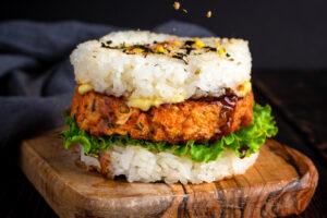 Japanese Salmon Rice Burger topped with furikake