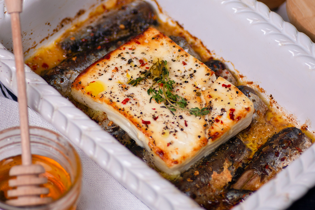 Baked Feta Cheese with Canned Sardines, Honey, and Thyme