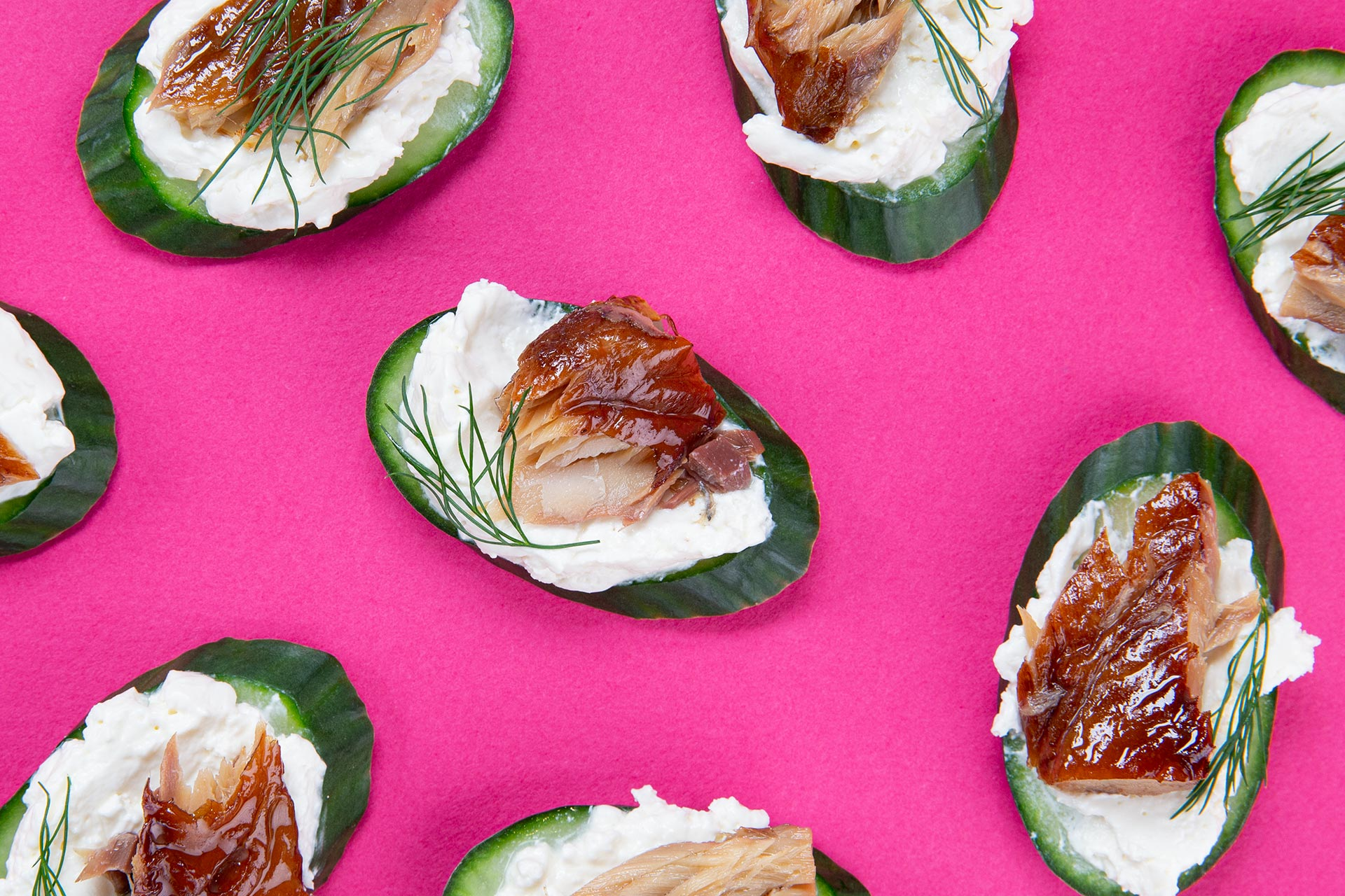 Gin & Tonic Smoked Mackerel On Cucumber Rounds