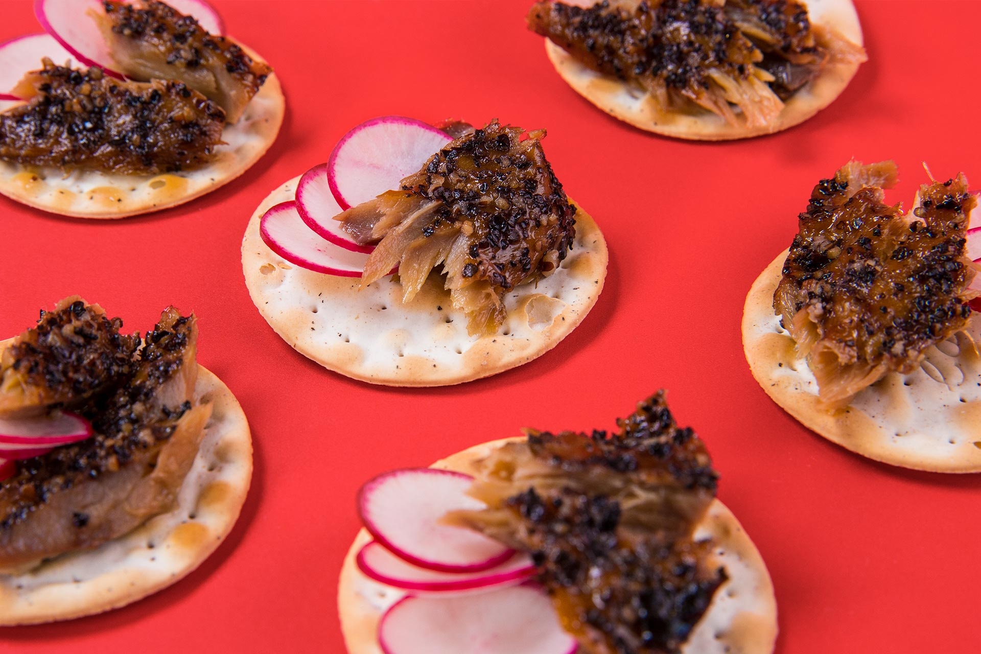 Peppered Smoked Mackerel On Crackers