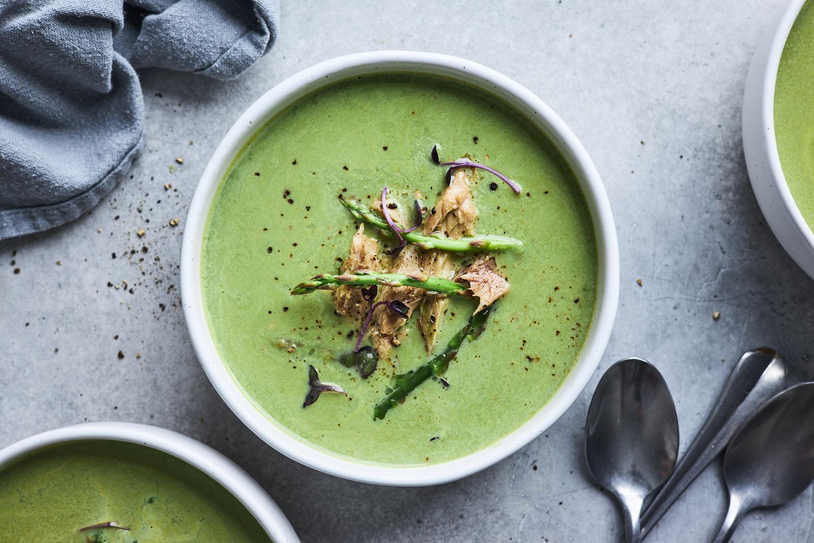 Creamy Asparagus Soup With Wild Mackerel
